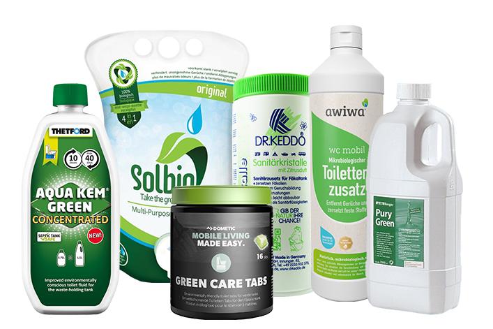 Es gibt eine große Auswahl an ökologischen Sanitärzusätzen