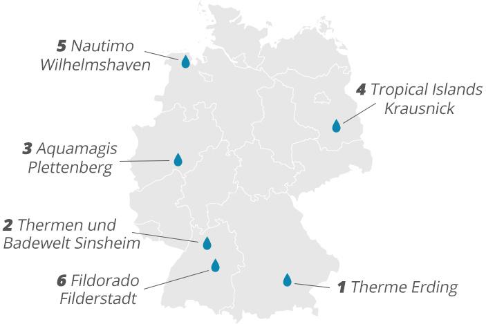 In ganz Deutschland gibt es tolle Thermen und Erlebnisbäder.