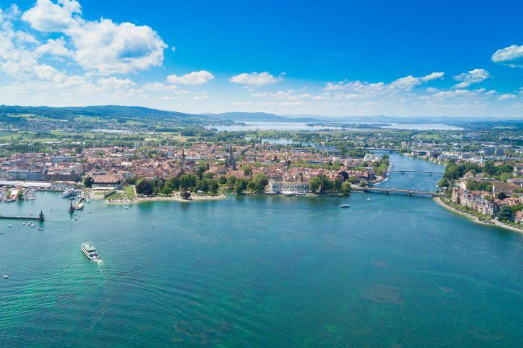 <p>Blick auf den Konstanzer Trichter am Bodensee ©adobestock</p>