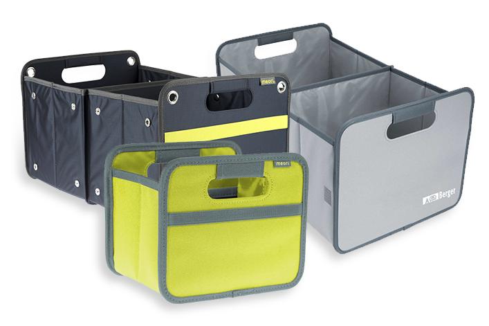 Gepäck lässt sich mit Faltboxen sicher verstauen
